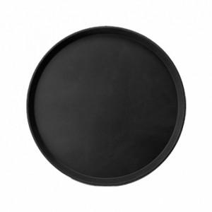 Поднос прорезиненный круглый 400х25мм, (черный)